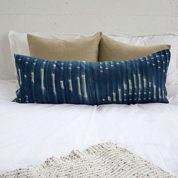 Indigo African Mud Cloth Extra Long Lumbar Pillow - 14x36 #30