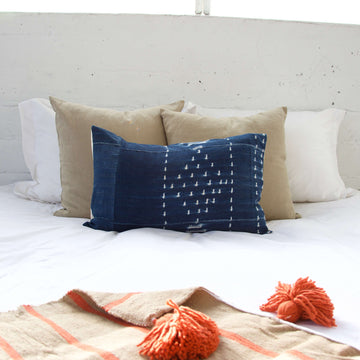 Indigo African Mud Cloth Pillow #10 - 14x22