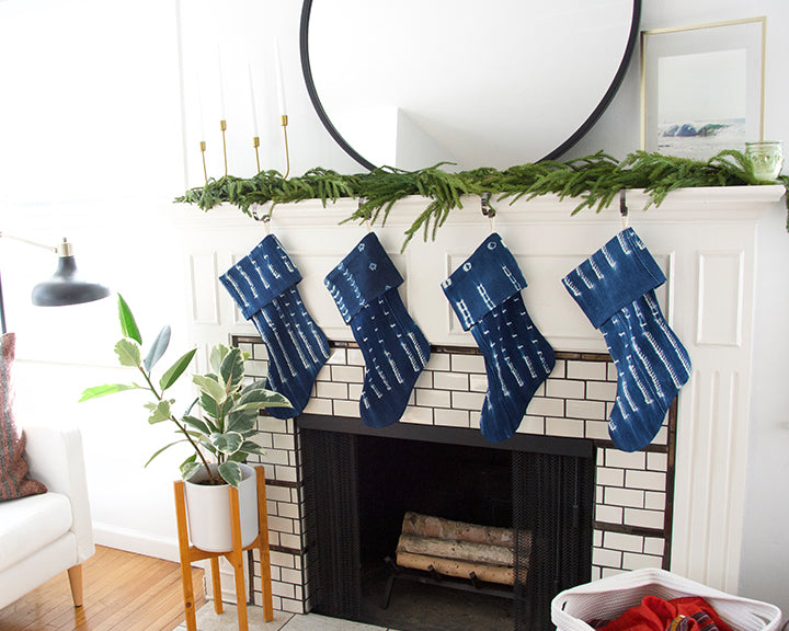 Indigo Mud Cloth Christmas Stocking