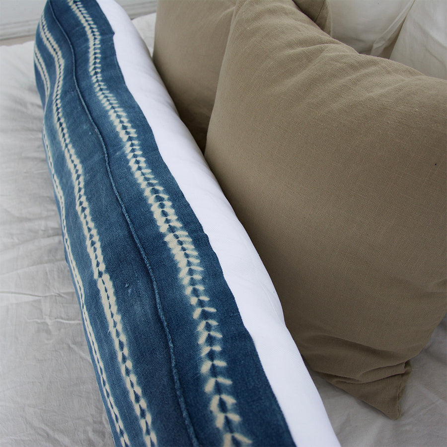 Indigo African Mud Cloth Extra Long Lumbar Pillow - 14x50