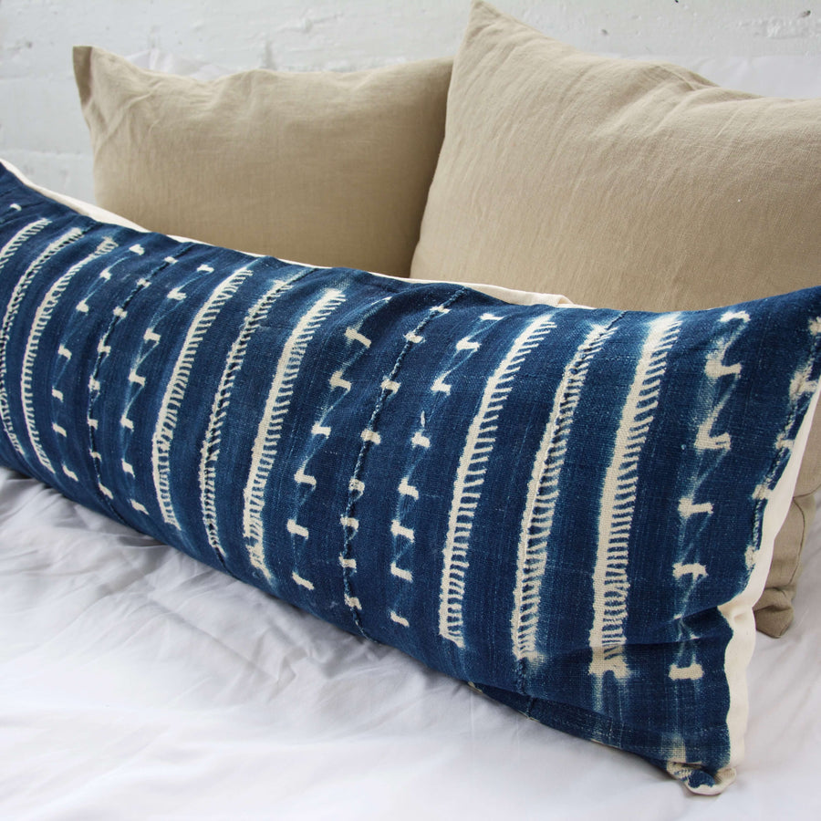 Indigo African Mud Cloth Extra Long Lumbar Pillow - 14x36 #19