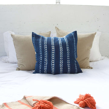 Indigo African Mud Cloth Pillow #18 - 22x22