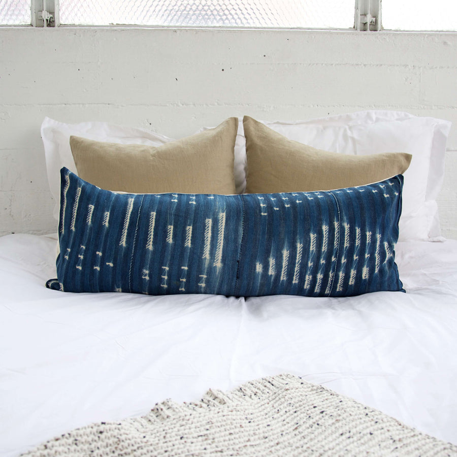 Indigo African Mud Cloth Extra Long Lumbar Pillow - 14x36 #31