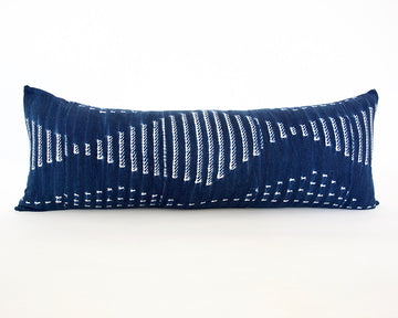 Indigo African Mud Cloth Extra Long Lumbar Pillow - 14x36 #41