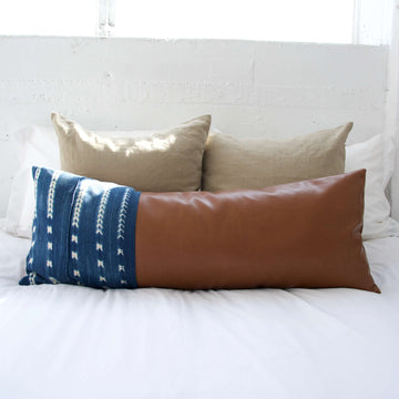 Mix & Match: Indigo Mud Cloth/ Faux Leather Extra Long Lumbar Pillow #2 - 14x36