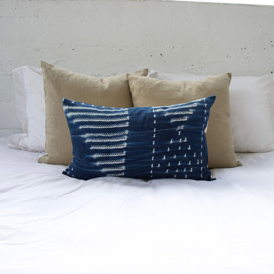 Indigo African Mud Cloth Pillow #8 - 14x22