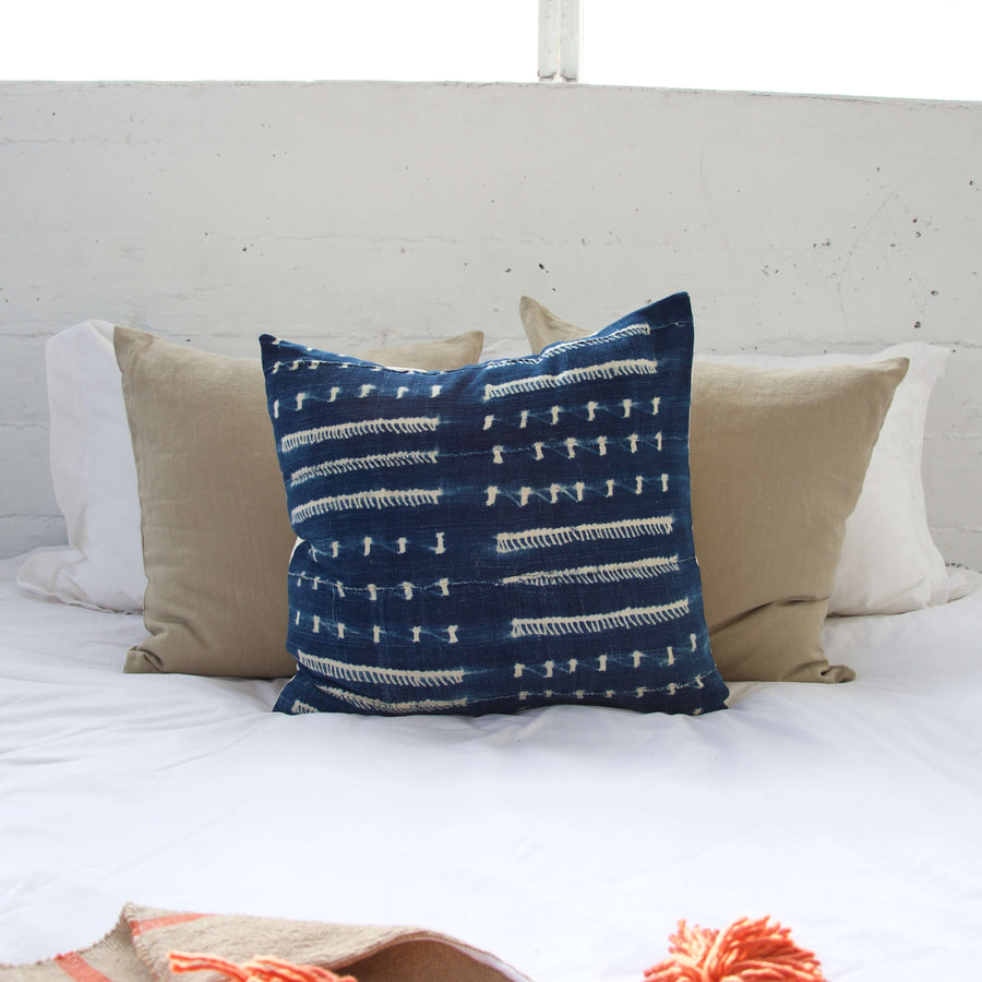 Indigo African Mud Cloth Pillow #10 - 22x22