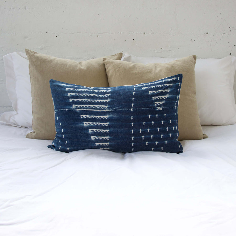 Indigo African Mud Cloth Pillow #9 - 14x22