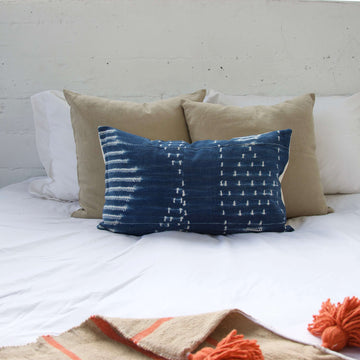 Indigo African Mud Cloth Pillow #11 - 14x22