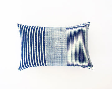 Indigo & White Striped Lumbar Pillow - 14x22
