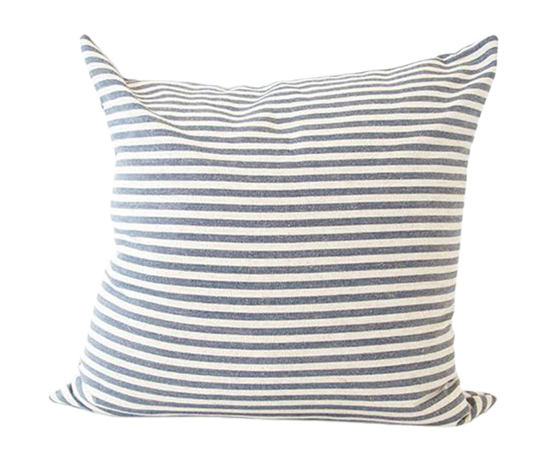 Large Blue & White Striped Accent Pillow -  22x22