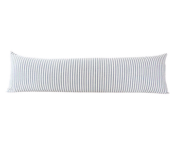 Large Blue & White Striped Extra Long Lumbar Pillow -  14x50