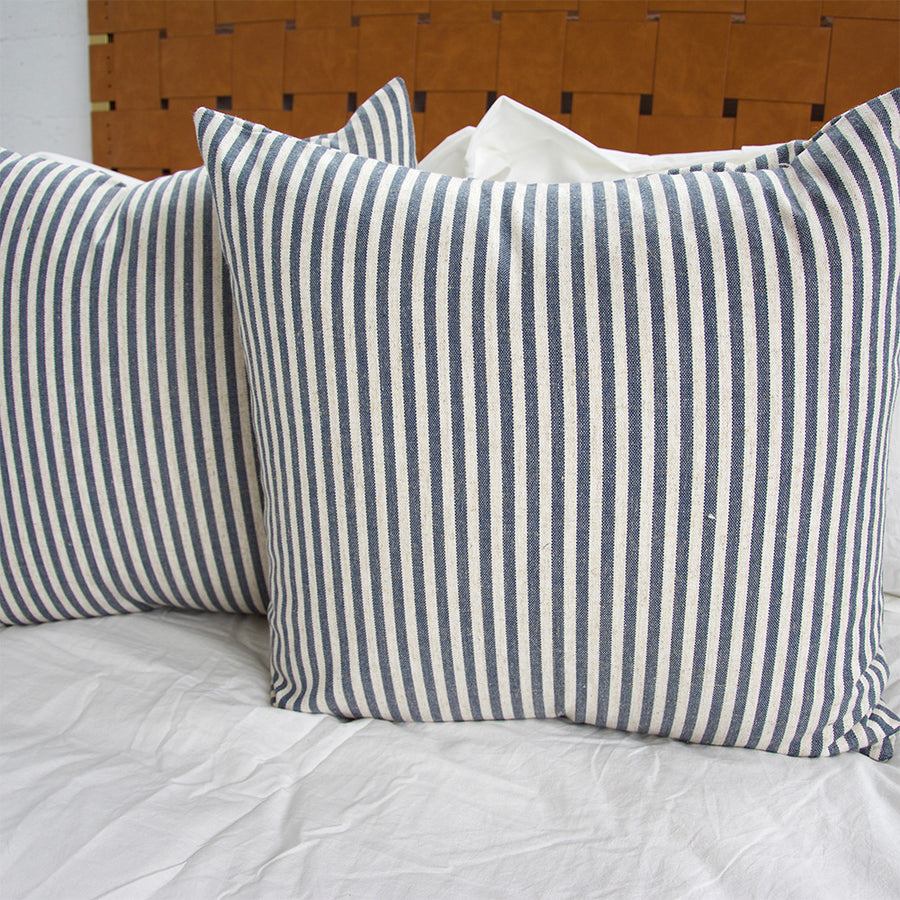 Large Navy & White Striped Accent Pillow -  24x24