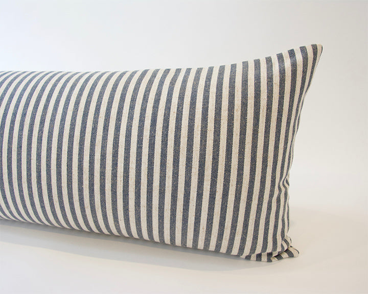 Large Blue & White Striped Extra Long Lumbar Pillow -  14x36