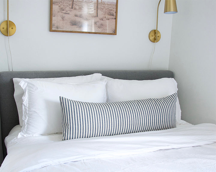 Large Navy & White Striped Extra Long Lumbar Pillow -  14x36