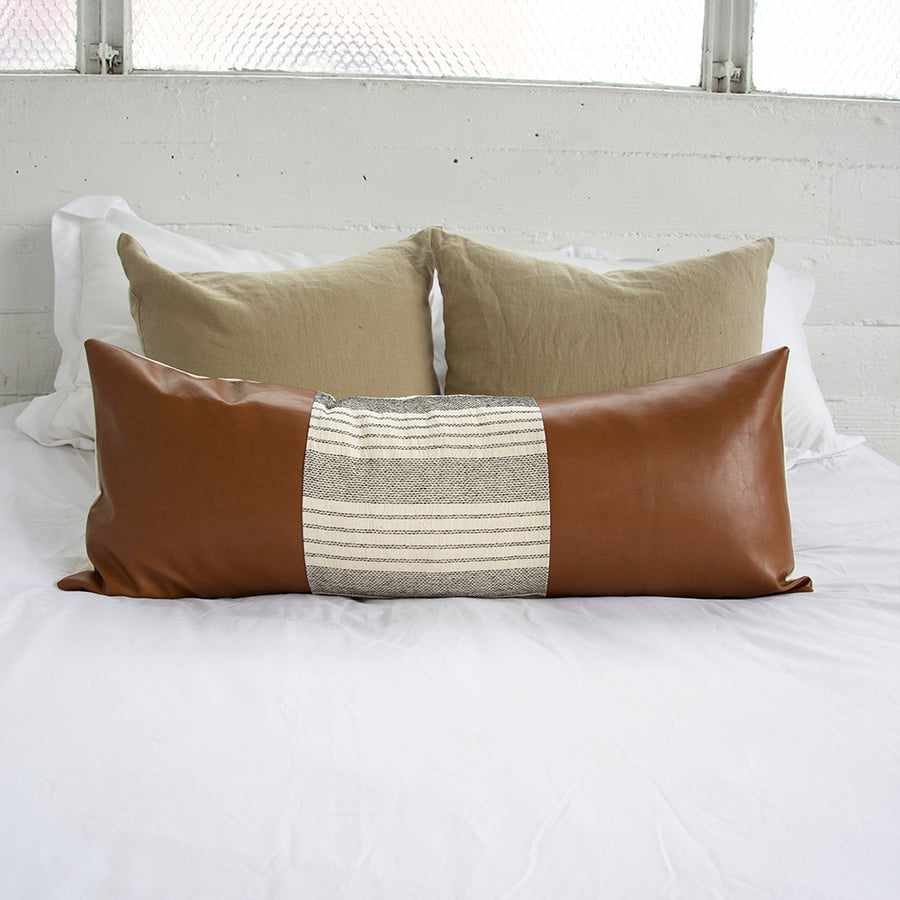 Mix & Match: White Stripe Faux Leather Extra Long Lumbar Pillow 14x36 inches