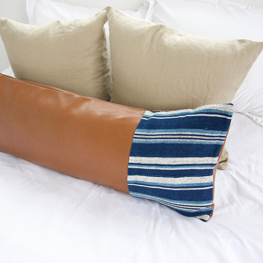 Mixed: Indigo Mud Cloth Faux Leather Extra Long Lumbar Pillow - 14x36