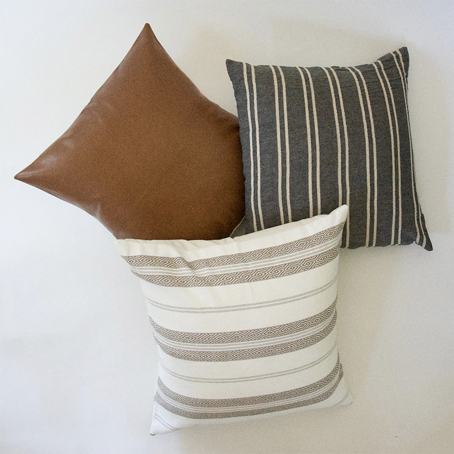 Dark Grey, Faux Leather, and White Southwestern Stripes - 3 Piece Pillow Set