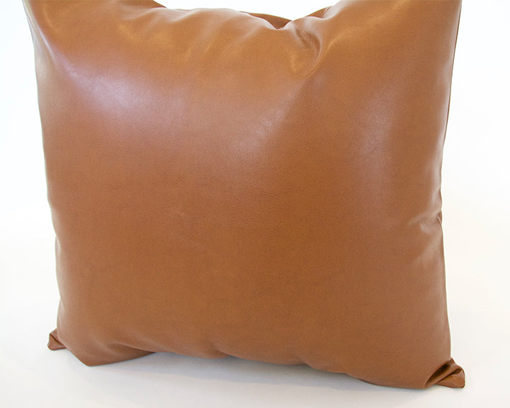 Light Brown Faux Leather Pillow - 22x22