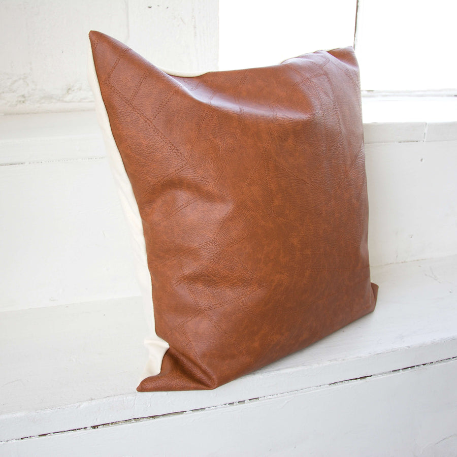 Light Brown Faux Leather Patchwork Pillow - 22x22
