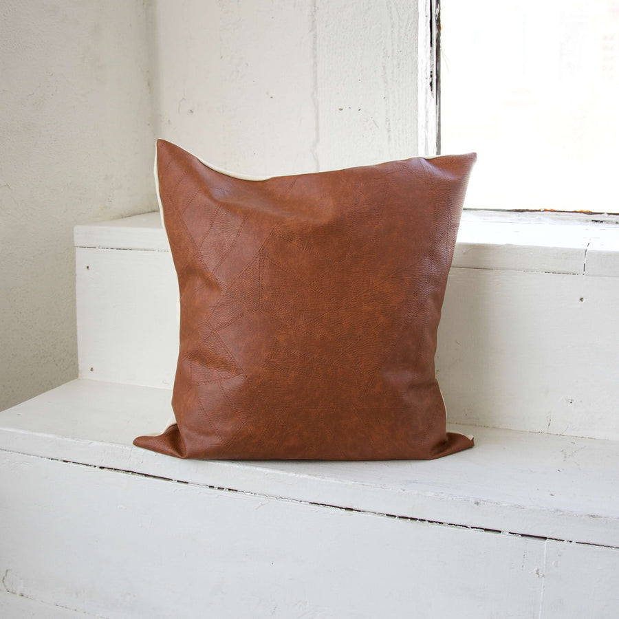 Light Brown Faux Leather Patchwork Pillow- 20x20