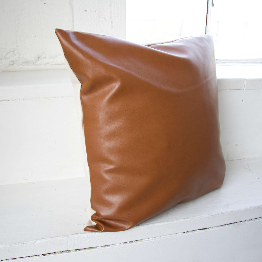 Light Brown Faux Leather Pillow- 20x20