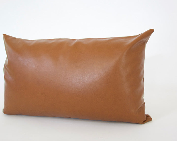 Light Brown Faux Leather Lumbar Pillow - 14x22