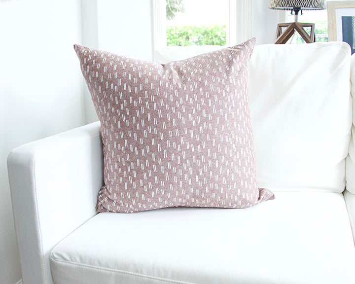 Maroon & White Dashed Accent Pillow - 22x22