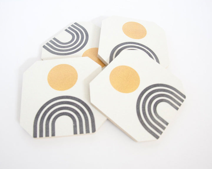 Mid Century Modern Gold Coaster Set