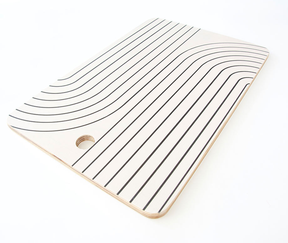 Minimal Line Curvature - White Cutting Board