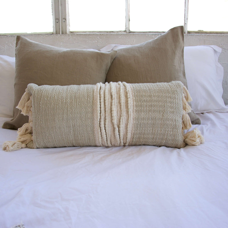 Mint Green and Cream Lumbar Pillow with Tassels - 12x26