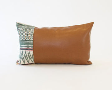 Mix & Match: White & Green Naga Tribal Cloth / Faux Leather Pillow - #1 - 14x22