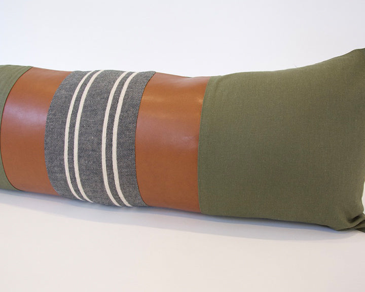 Mix & Match: Army Green & Dark Grey Stripe / Faux Leather Extra Long Lumbar Pillow - 14x36