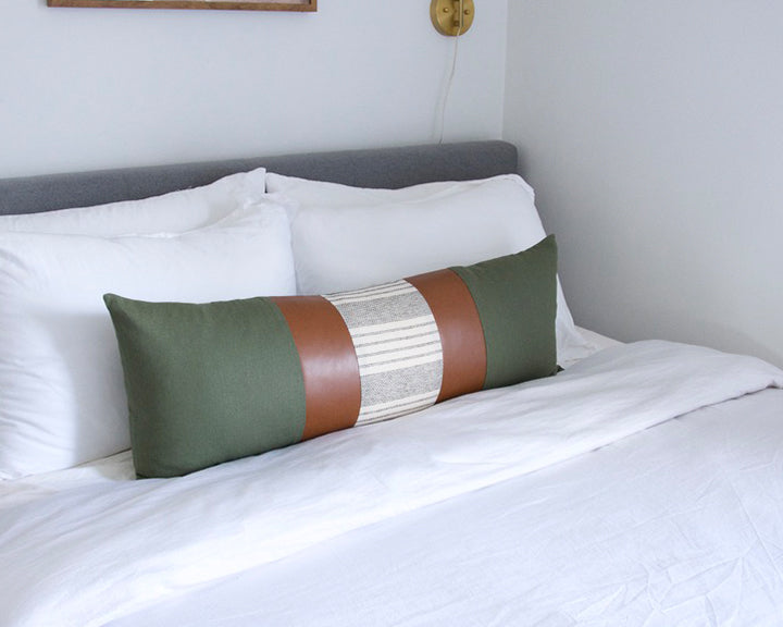 Mix & Match: Army Green & White Stripe / Faux Leather Extra Long Lumbar Pillow - 14x36