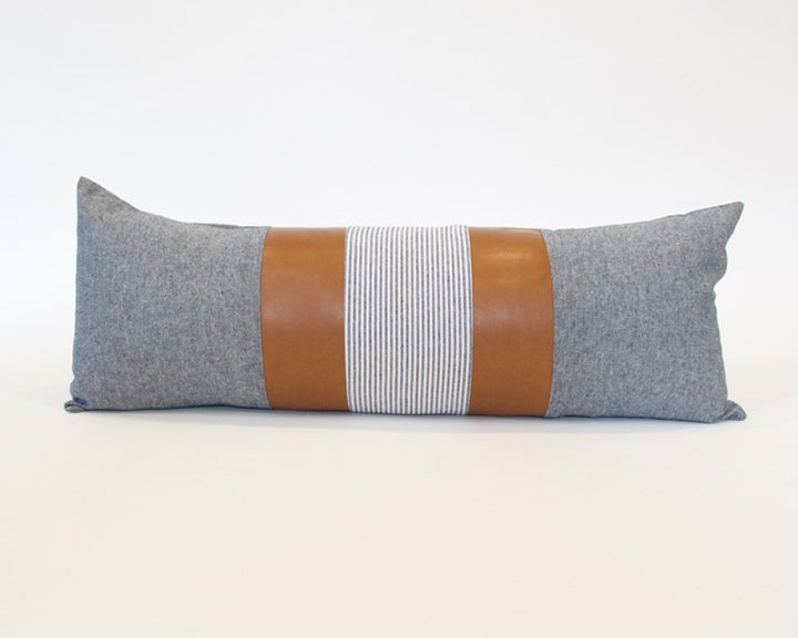 Mix & Match: Blue & White Stripe / Faux Leather Extra Long Lumbar Pillow - 14x36