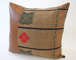 Mix & Match: Brown Naga Tribal Cloth / Faux Leather Pillow - #2 - 20x20