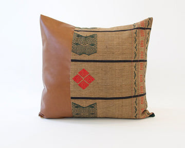 Mix & Match: Brown Naga Tribal Cloth / Faux Leather Pillow - #2 - 22x22