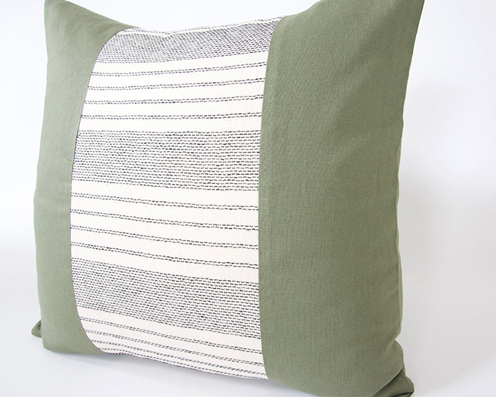 Mix & Match: Off White Striped / Army Green Pillow - 20x20 #2