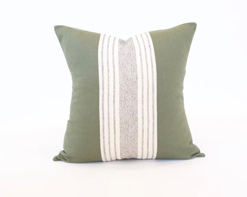 Mix & Match: Off White Striped / Army Green Pillow - 22x22