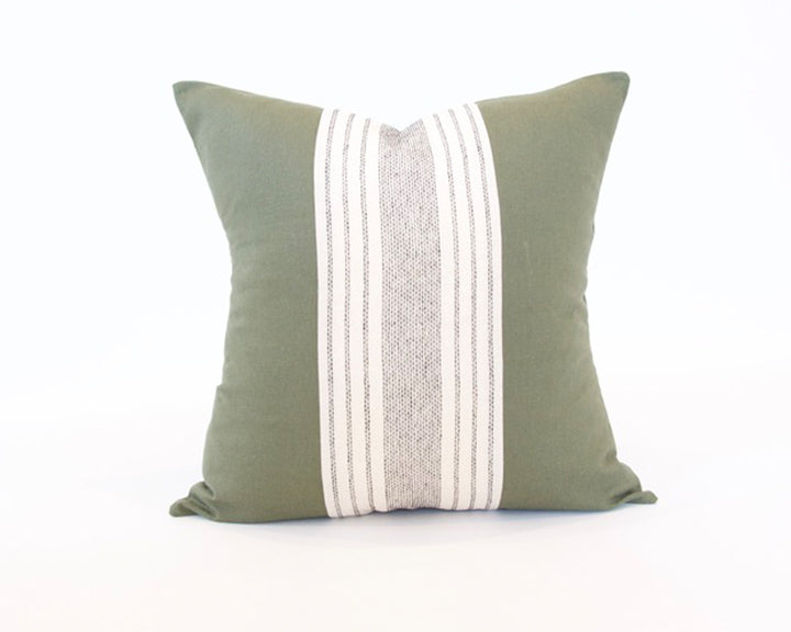 Mix & Match: Off White Striped / Army Green Pillow - 20x20