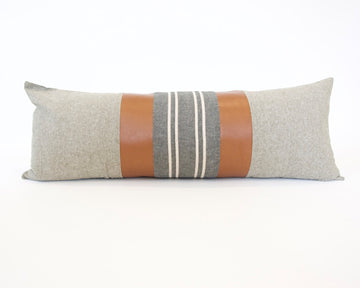 Mix & Match: Olive Green & Dark Grey Stripe / Faux Leather Extra Long Lumbar Pillow - 14x36