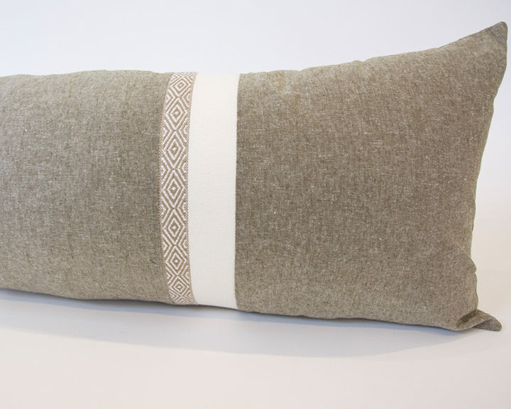 Mix & Match: Olive Green & White Southwest Stripe Extra Long Lumbar Pillow - 14x36