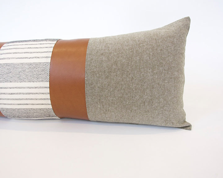 Mix & Match: Olive Green & White Stripe / Faux Leather Extra Long Lumbar Pillow - 14x36