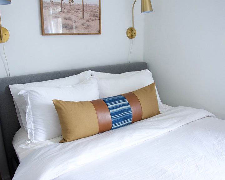 Mix & Match: Tan & Indigo Stripe / Faux Leather Extra Long Lumbar Pillow - 14x36