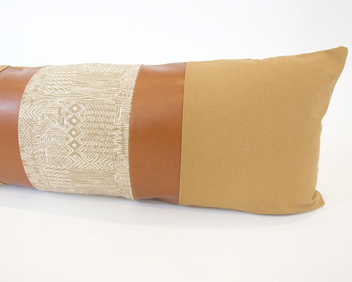 Mix & Match: Tan & Natural Safari / Faux Leather Extra Long Lumbar Pillow - 14x36