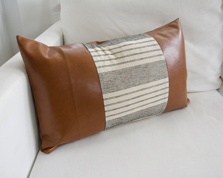 Mix & Match: White Stripe / Faux Leather Lumbar Pillow - 14x22