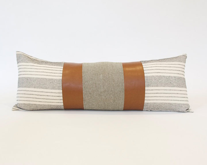 Mix & Match: White Stripe & Olive Green  / Faux Leather Extra Long Lumbar Pillow - 14x36