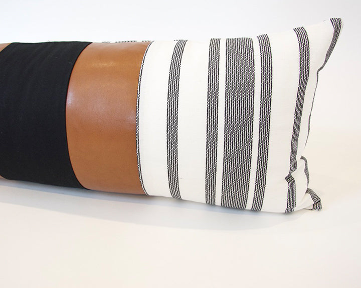 Mix & Match: White & Black Stripe / Faux Leather Extra Long Lumbar Pillow - 14x36