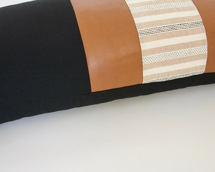 Mix & Match: Black & Cream Striped / Faux Leather Extra Long Lumbar Pillow - 14x36