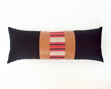 Mix & Match: Black & Red Striped / Faux Leather Extra Long Lumbar Pillow - 14x36